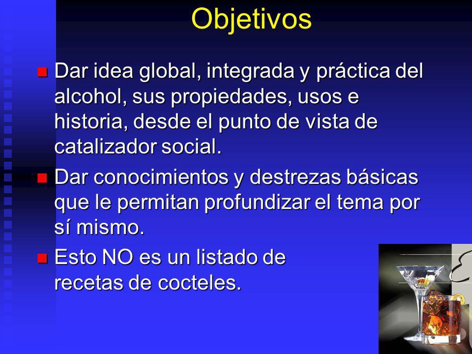 Objetivos Dar idea global, integrada y práctica del alcohol, sus propiedades, usos e historia, desde el punto de vista de catalizador social. Dar idea