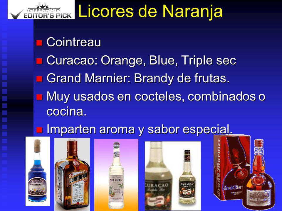 Licores de Naranja Cointreau Cointreau Curacao: Orange, Blue, Triple sec Curacao: Orange, Blue, Triple sec Grand Marnier: Brandy de frutas. Grand Marn