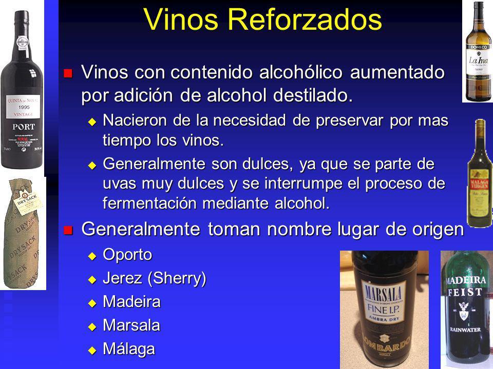 Vinos Reforzados Vinos con contenido alcohólico aumentado por adición de alcohol destilado. Vinos con contenido alcohólico aumentado por adición de al