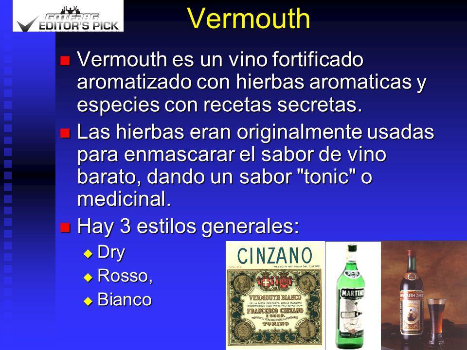 Vermouth Vermouth es un vino fortificado aromatizado con hierbas aromaticas y especies con recetas secretas. Vermouth es un vino fortificado aromatiza