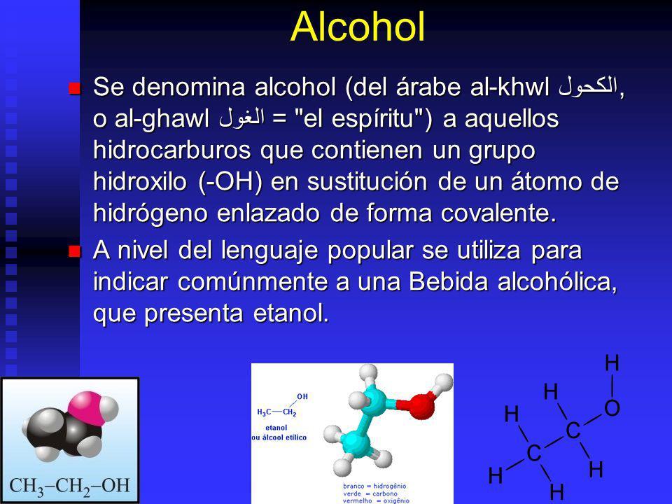 Alcohol Se denomina alcohol (del árabe al-khwl الكحول, o al-ghawl الغول =