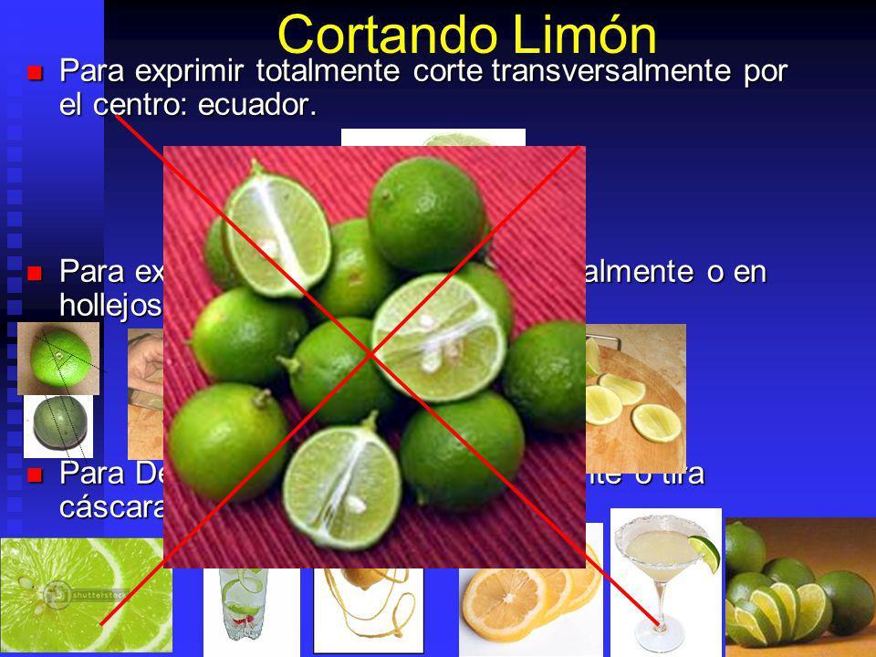 Cortando Limón Para exprimir totalmente corte transversalmente por el centro: ecuador. Para exprimir totalmente corte transversalmente por el centro:
