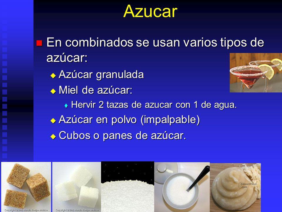 Azucar En combinados se usan varios tipos de azúcar: En combinados se usan varios tipos de azúcar: Azúcar granulada Azúcar granulada Miel de azúcar: M