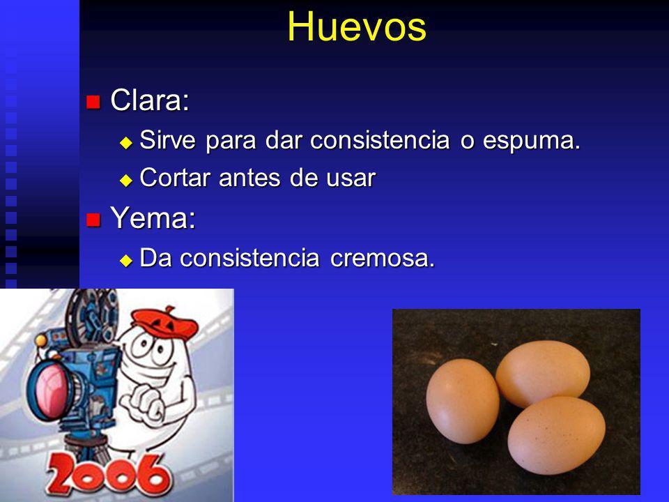 Huevos Clara: Clara: Sirve para dar consistencia o espuma. Sirve para dar consistencia o espuma. Cortar antes de usar Cortar antes de usar Yema: Yema: