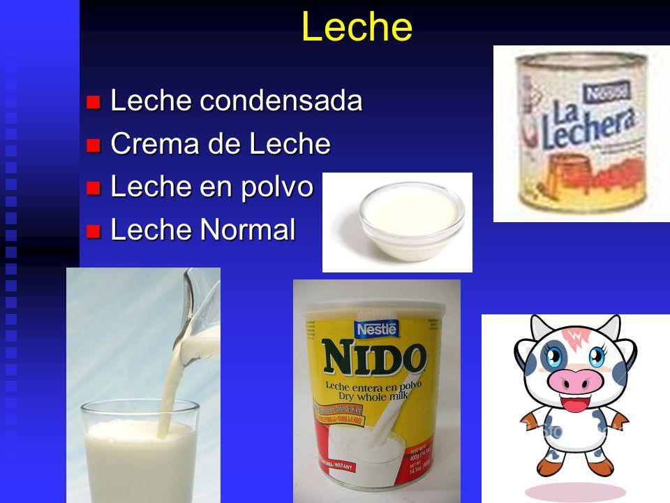 Leche Leche condensada Leche condensada Crema de Leche Crema de Leche Leche en polvo Leche en polvo Leche Normal Leche Normal