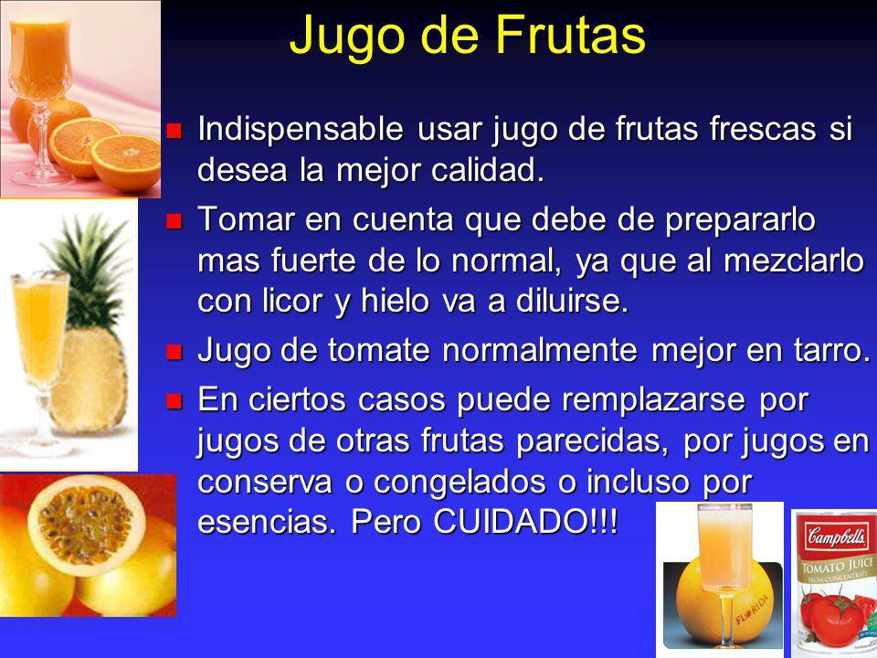 Jugo de Frutas Indispensable usar jugo de frutas frescas si desea la mejor calidad. Indispensable usar jugo de frutas frescas si desea la mejor calida