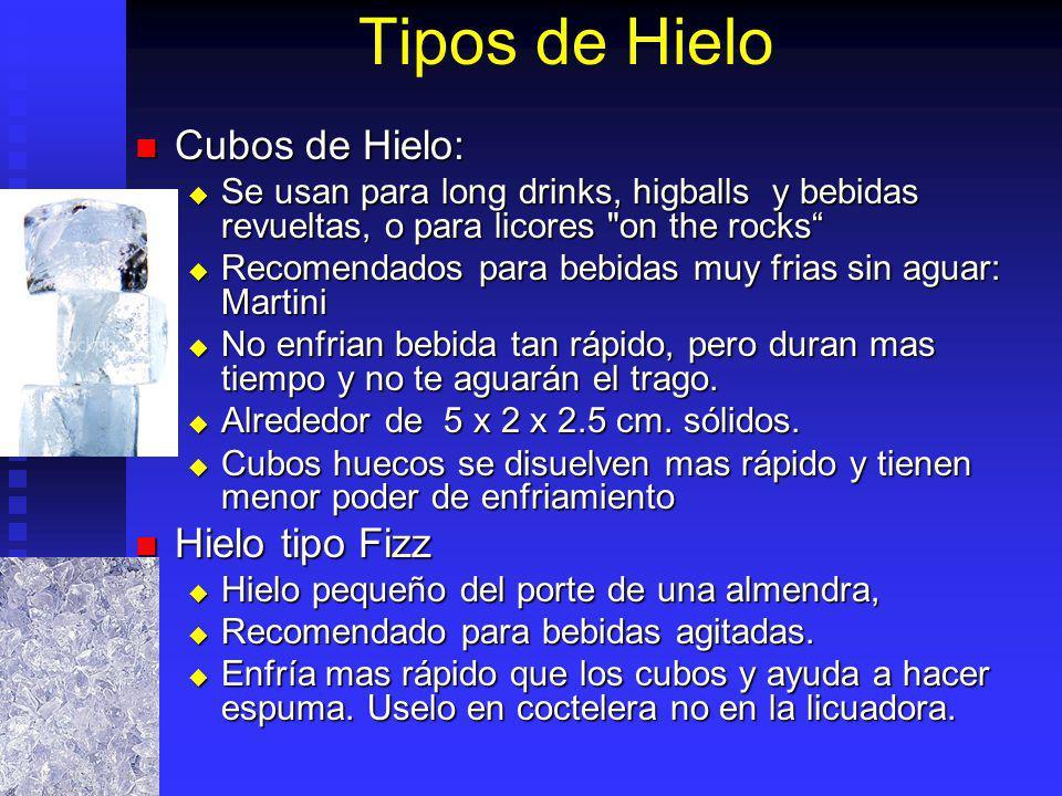 Tipos de Hielo Cubos de Hielo: Cubos de Hielo: Se usan para long drinks, higballs y bebidas revueltas, o para licores
