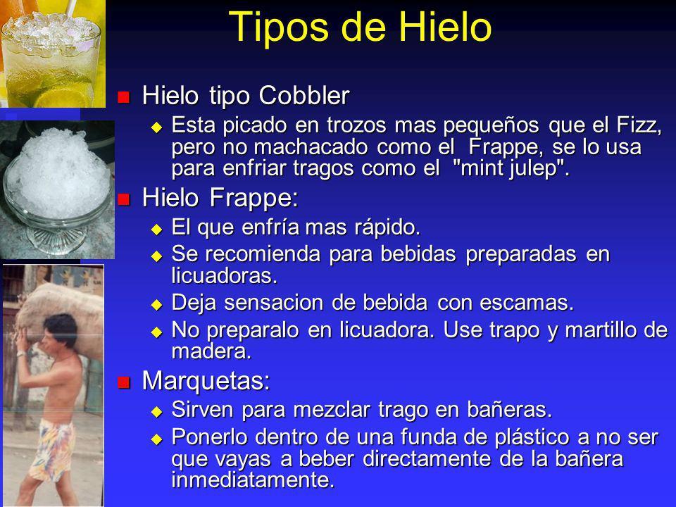 Tipos de Hielo Hielo tipo Cobbler Hielo tipo Cobbler Esta picado en trozos mas pequeños que el Fizz, pero no machacado como el Frappe, se lo usa para
