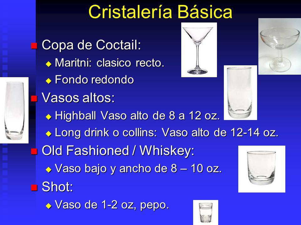 Cristalería Básica Copa de Coctail: Copa de Coctail: Maritni: clasico recto. Maritni: clasico recto. Fondo redondo Fondo redondo Vasos altos: Vasos al
