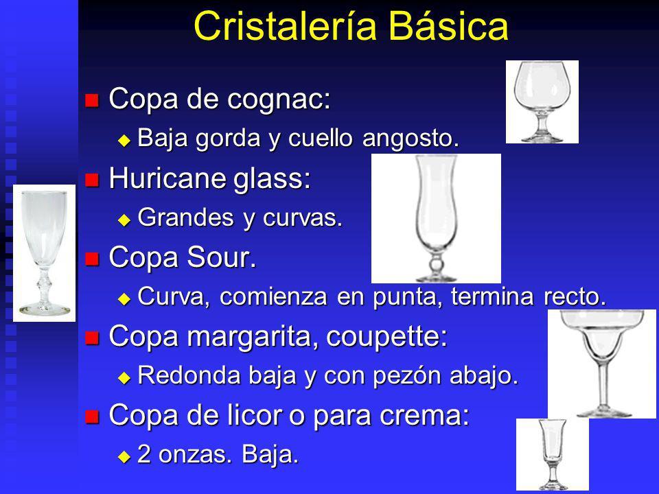 Cristalería Básica Copa de cognac: Copa de cognac: Baja gorda y cuello angosto. Baja gorda y cuello angosto. Huricane glass: Huricane glass: Grandes y