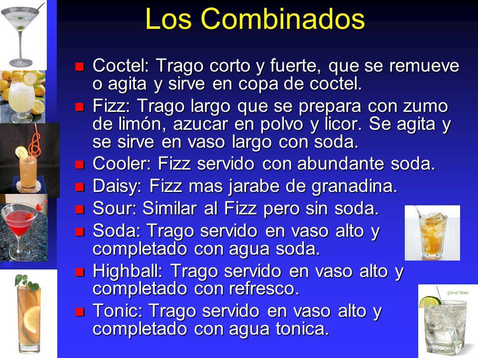 Los Combinados Coctel: Trago corto y fuerte, que se remueve o agita y sirve en copa de coctel. Coctel: Trago corto y fuerte, que se remueve o agita y