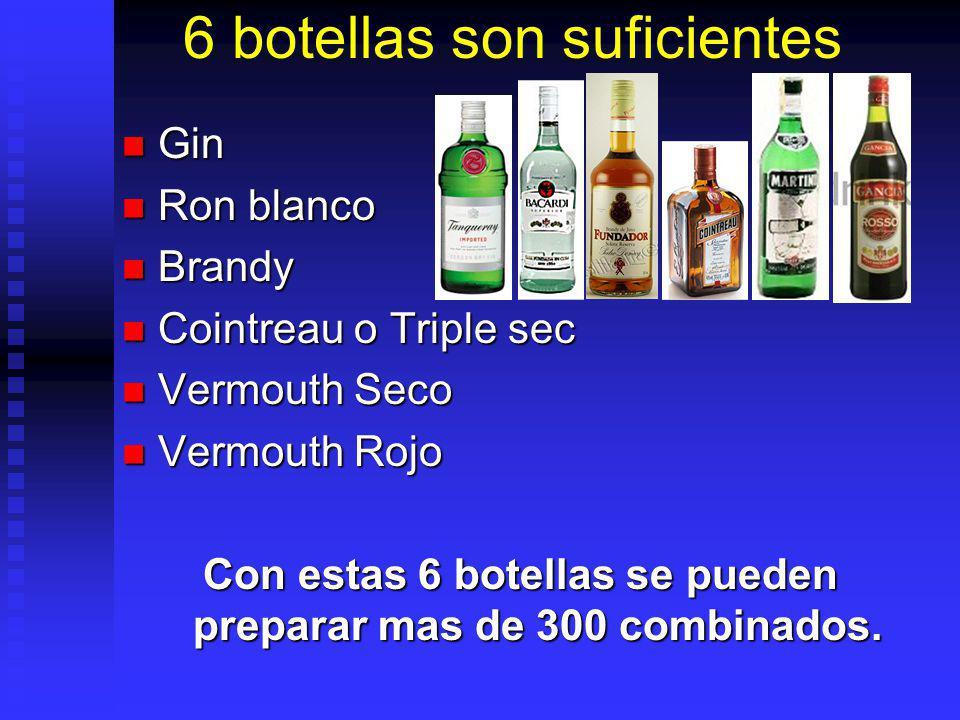 6 botellas son suficientes Gin Gin Ron blanco Ron blanco Brandy Brandy Cointreau o Triple sec Cointreau o Triple sec Vermouth Seco Vermouth Seco Vermo