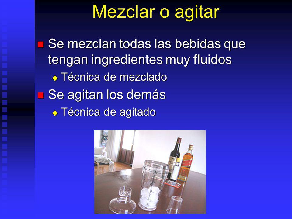 Mezclar o agitar Se mezclan todas las bebidas que tengan ingredientes muy fluidos Se mezclan todas las bebidas que tengan ingredientes muy fluidos Téc