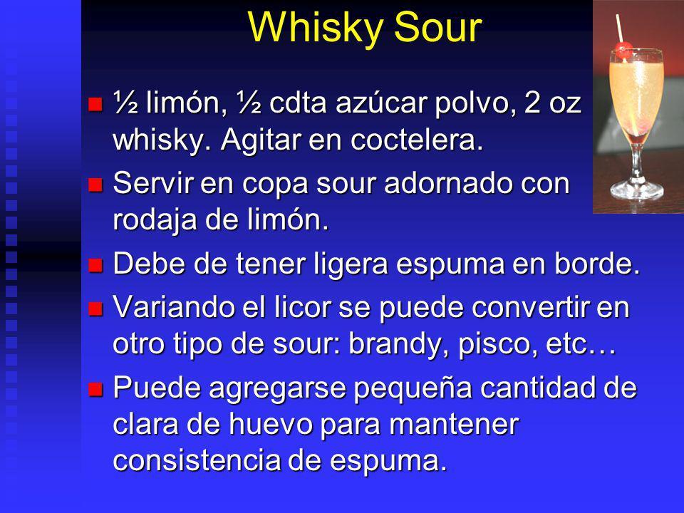 Whisky Sour ½ limón, ½ cdta azúcar polvo, 2 oz whisky. Agitar en coctelera. ½ limón, ½ cdta azúcar polvo, 2 oz whisky. Agitar en coctelera. Servir en