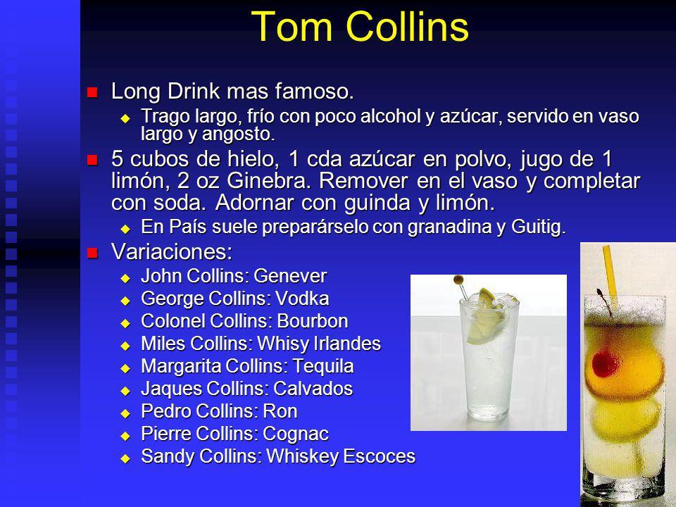 Tom Collins Long Drink mas famoso. Long Drink mas famoso. Trago largo, frío con poco alcohol y azúcar, servido en vaso largo y angosto. Trago largo, f
