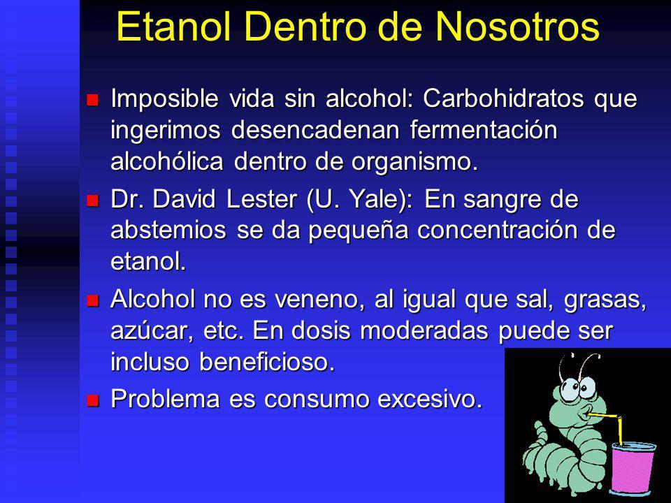 Etanol Dentro de Nosotros Imposible vida sin alcohol: Carbohidratos que ingerimos desencadenan fermentación alcohólica dentro de organismo. Imposible