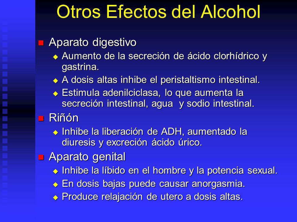Otros Efectos del Alcohol Aparato digestivo Aparato digestivo Aumento de la secreción de ácido clorhídrico y gastrina. Aumento de la secreción de ácid