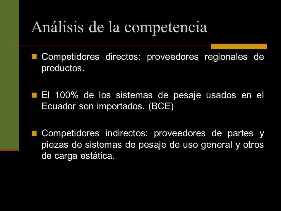 Análisis de la competencia Competidores directos: proveedores regionales de productos. El 100% de los sistemas de pesaje usados en el Ecuador son impo