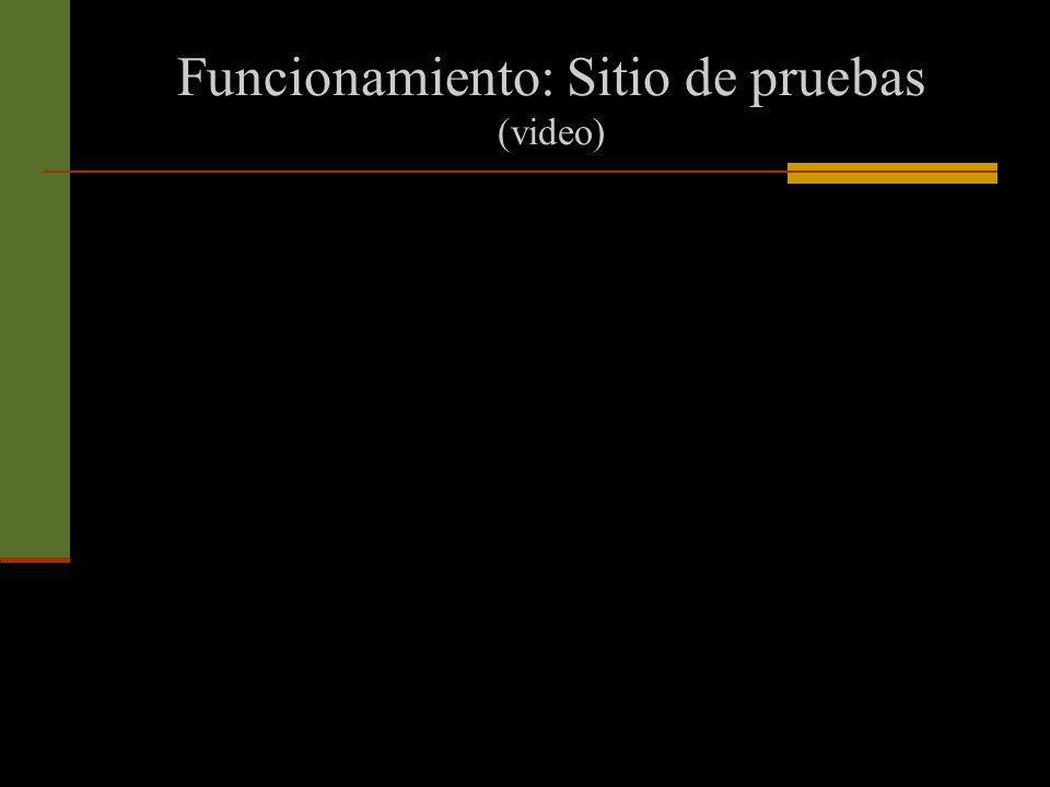Funcionamiento: Sitio de pruebas (video)