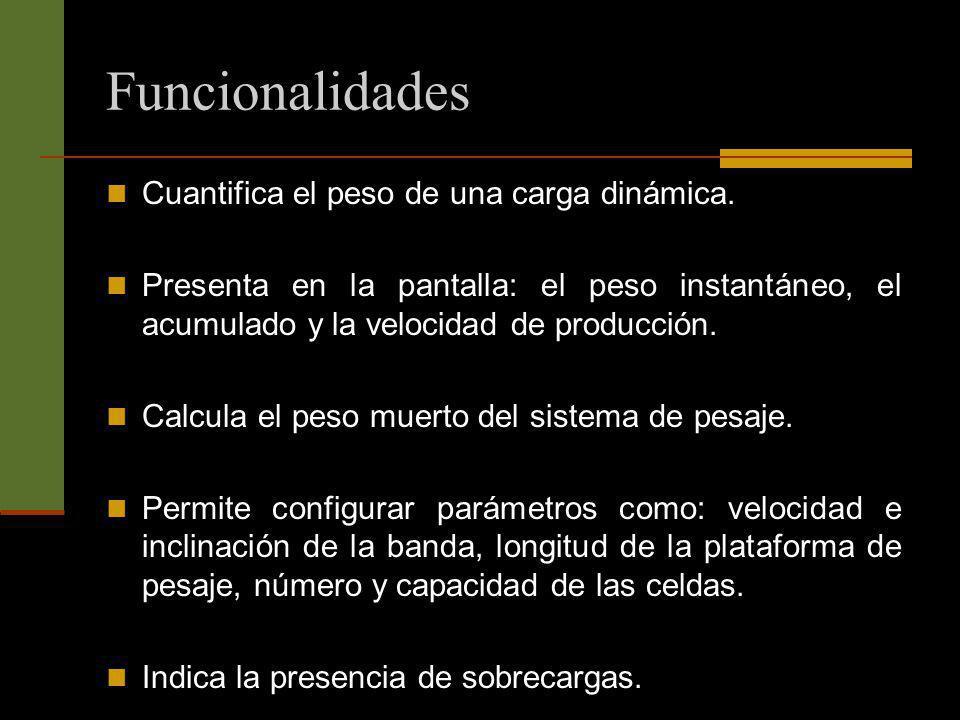 Funcionalidades Cuantifica el peso de una carga dinámica. Presenta en la pantalla: el peso instantáneo, el acumulado y la velocidad de producción. Cal