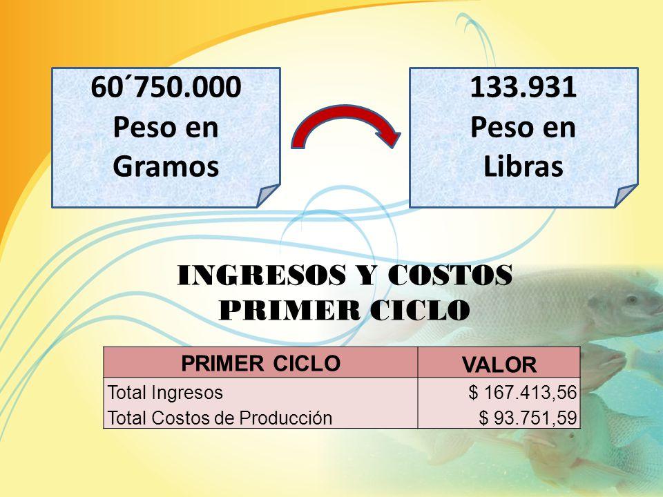 NÚMERO PECES CULTIVADOS 90.000 TASA DE MORTALIDAD 10% NÚMERO PECES MUERTOS 9.000 NÚMERO PECES ESPERADOS 81.000 CADA PEZ PESA 750 GRAMOS 1 LIBRA 453,59