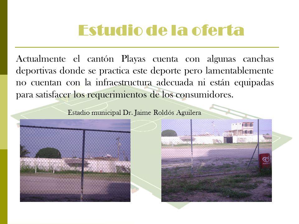 Estudio de la oferta Actualmente el cantón Playas cuenta con algunas canchas deportivas donde se practica este deporte pero lamentablemente no cuentan