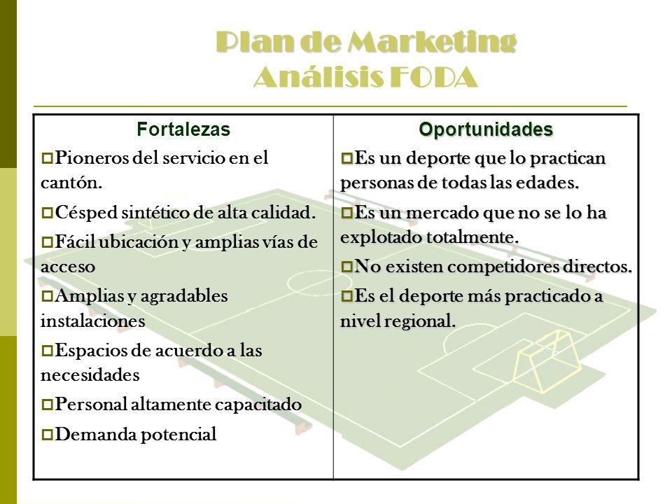 Plan de Marketing Análisis FODA Fortalezas Pioneros del servicio en el cantón. Césped sintético de alta calidad. Fácil ubicación y amplias vías de acc