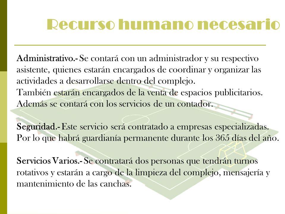 Administrativo.- Se contará con un administrador y su respectivo asistente, quienes estarán encargados de coordinar y organizar las actividades a desa