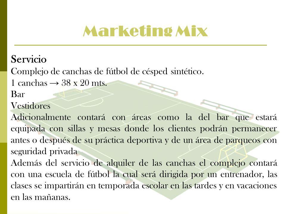 Marketing Mix Servicio Complejo de canchas de fútbol de césped sintético. 1 canchas 38 x 20 mts. Bar Vestidores Adicionalmente contará con áreas como