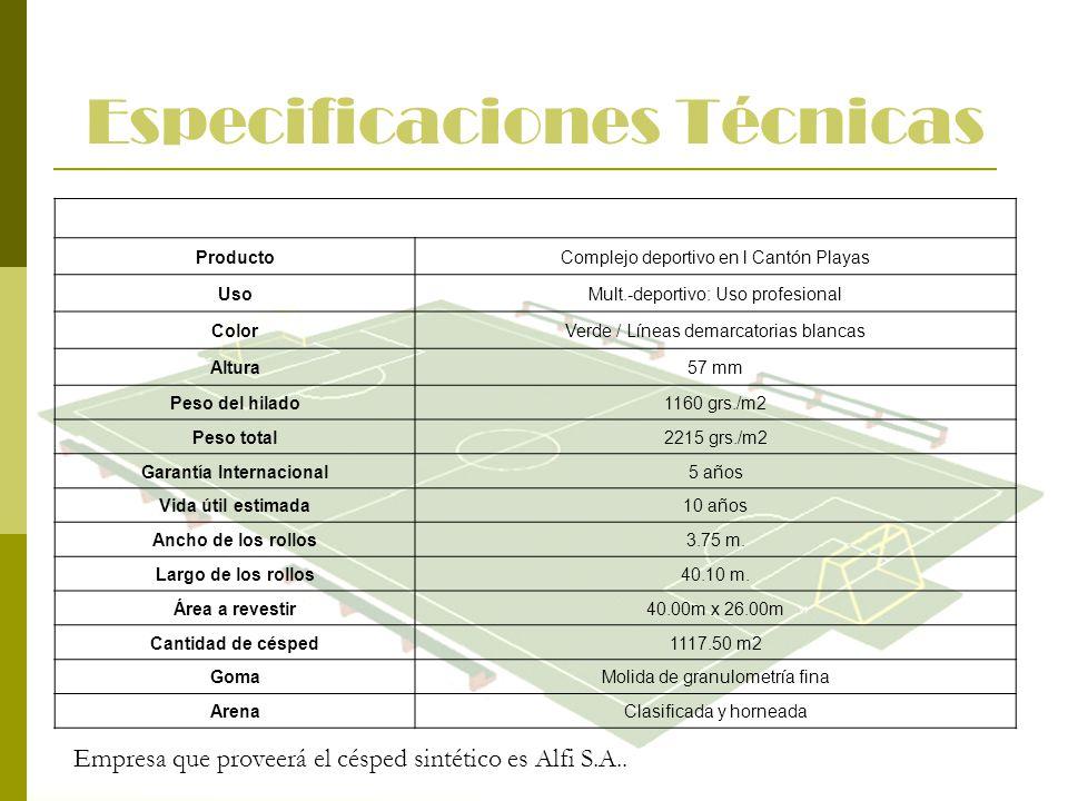 Especificaciones Técnicas ProductoComplejo deportivo en l Cantón Playas UsoMult.-deportivo: Uso profesional ColorVerde / Líneas demarcatorias blancas