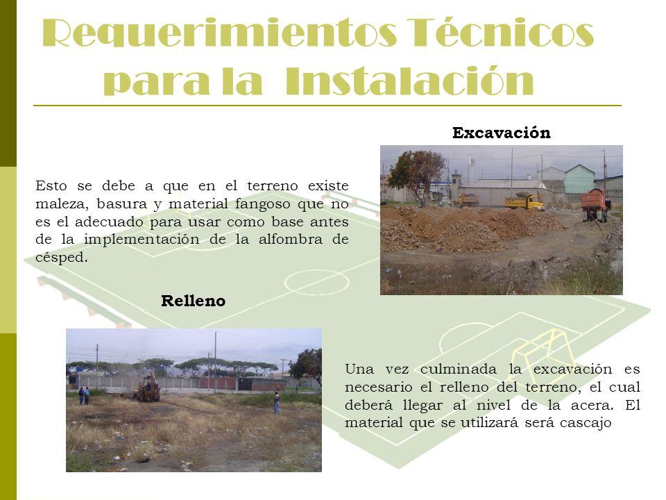 Requerimientos Técnicos para la Instalación Excavación Esto se debe a que en el terreno existe maleza, basura y material fangoso que no es el adecuado