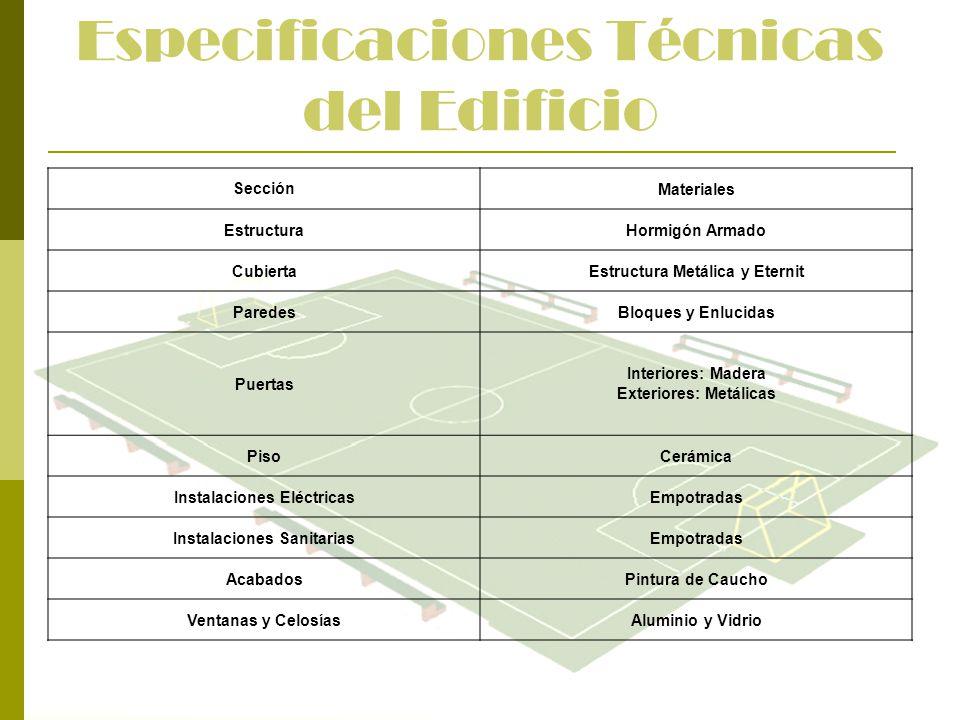 Especificaciones Técnicas del Edificio SecciónMateriales EstructuraHormigón Armado CubiertaEstructura Metálica y Eternit ParedesBloques y Enlucidas Pu