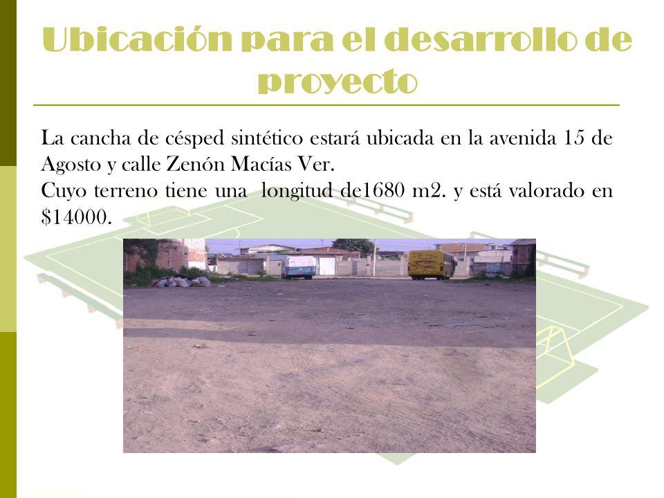 Ubicación para el desarrollo de proyecto La cancha de césped sintético estará ubicada en la avenida 15 de Agosto y calle Zenón Macías Ver. Cuyo terren