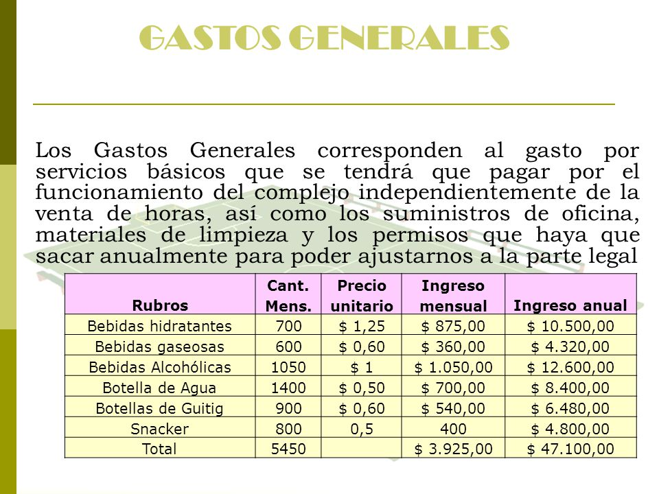 GASTOS GENERALES Los Gastos Generales corresponden al gasto por servicios básicos que se tendrá que pagar por el funcionamiento del complejo independi