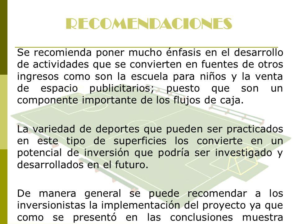 RECOMENDACIONES Se recomienda poner mucho énfasis en el desarrollo de actividades que se convierten en fuentes de otros ingresos como son la escuela p