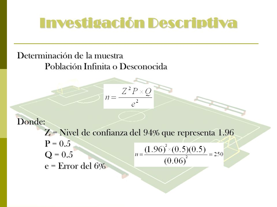 Investigación Descriptiva Determinación de la muestra Población Infinita o Desconocida Donde: Z = Nivel de confianza del 94% que representa 1.96 P = 0