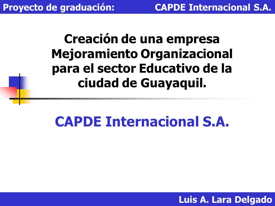 Creación de una empresa Mejoramiento Organizacional para el sector Educativo de la ciudad de Guayaquil. CAPDE Internacional S.A. Luis A. Lara Delgado