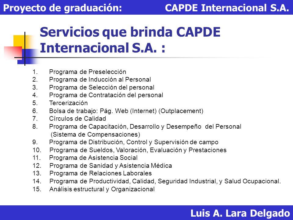 Servicios que brinda CAPDE Internacional S.A. : Luis A. Lara Delgado Proyecto de graduación: CAPDE Internacional S.A. 1. Programa de Preselección 2. P