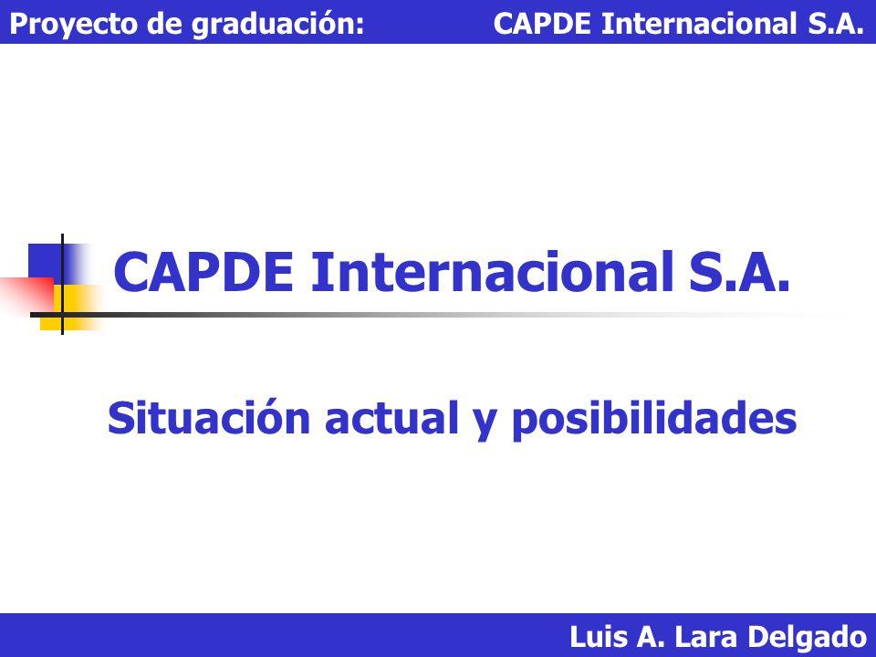 Luis A. Lara Delgado Proyecto de graduación: CAPDE Internacional S.A. CAPDE Internacional S.A. Situación actual y posibilidades