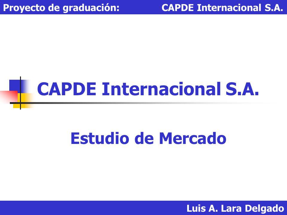 Luis A. Lara Delgado Proyecto de graduación: CAPDE Internacional S.A. CAPDE Internacional S.A. Estudio de Mercado