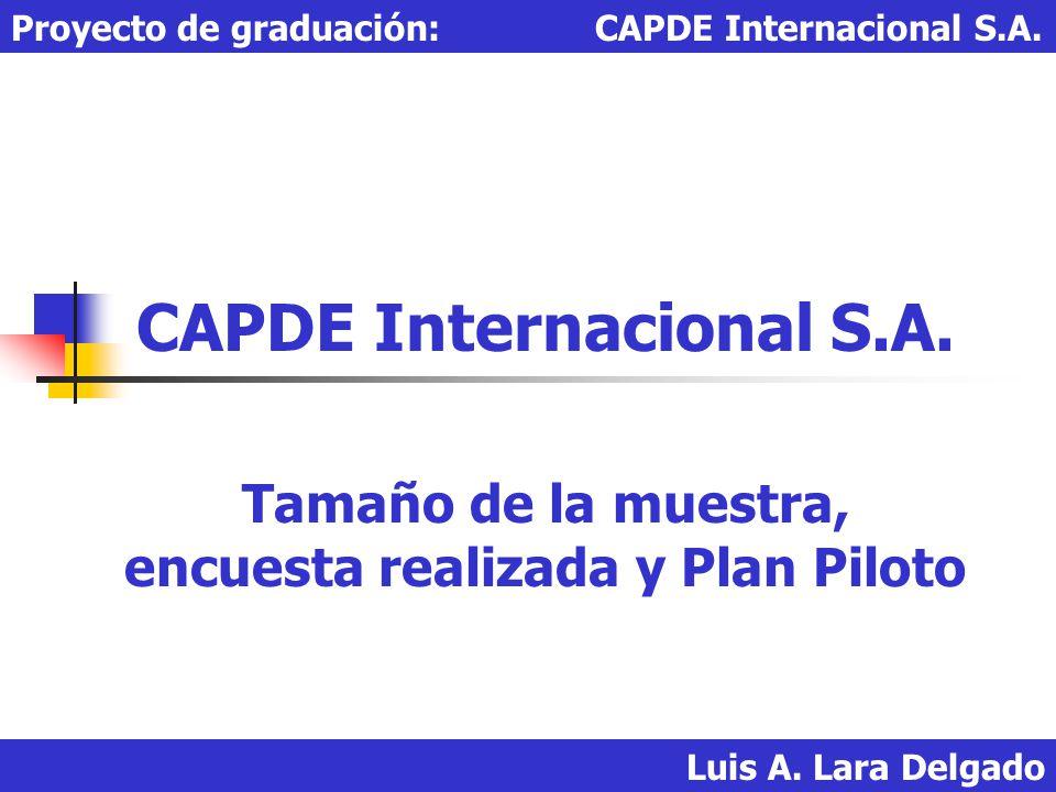 Luis A. Lara Delgado Proyecto de graduación: CAPDE Internacional S.A. CAPDE Internacional S.A. Tamaño de la muestra, encuesta realizada y Plan Piloto