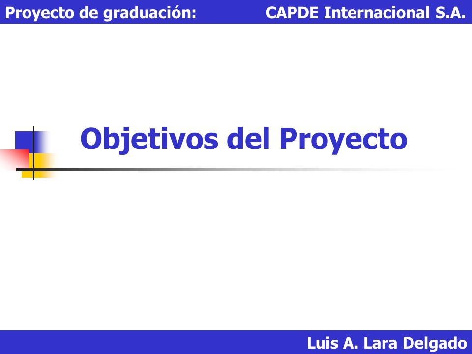 Objetivos del Proyecto: El objetivo principal es lograr por medio del Gobierno el poder manejar a través de CAPDE Internacional S.A.