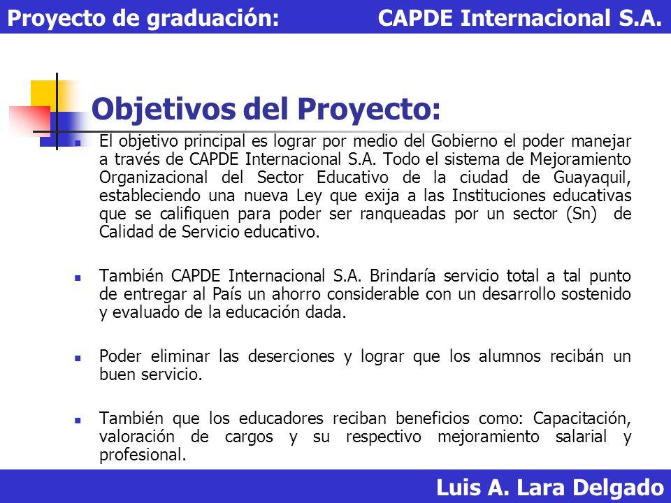 Objetivos del Proyecto: El objetivo principal es lograr por medio del Gobierno el poder manejar a través de CAPDE Internacional S.A. Todo el sistema d