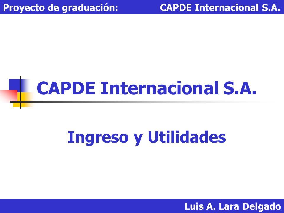 Luis A. Lara Delgado Proyecto de graduación: CAPDE Internacional S.A. CAPDE Internacional S.A. Ingreso y Utilidades