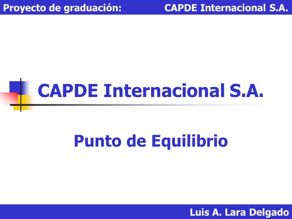 Luis A. Lara Delgado Proyecto de graduación: CAPDE Internacional S.A. CAPDE Internacional S.A. Punto de Equilibrio
