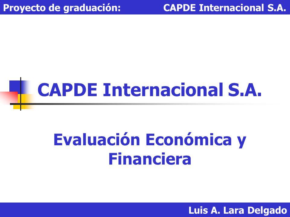 Luis A. Lara Delgado Proyecto de graduación: CAPDE Internacional S.A. CAPDE Internacional S.A. Evaluación Económica y Financiera
