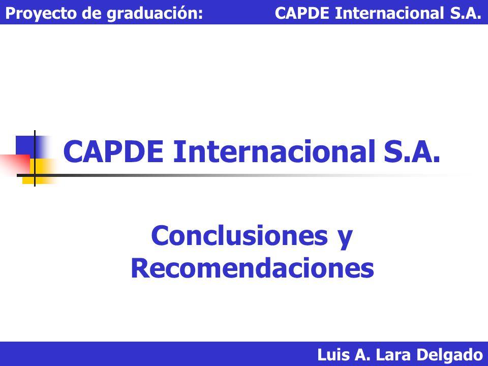 Luis A. Lara Delgado Proyecto de graduación: CAPDE Internacional S.A. CAPDE Internacional S.A. Conclusiones y Recomendaciones
