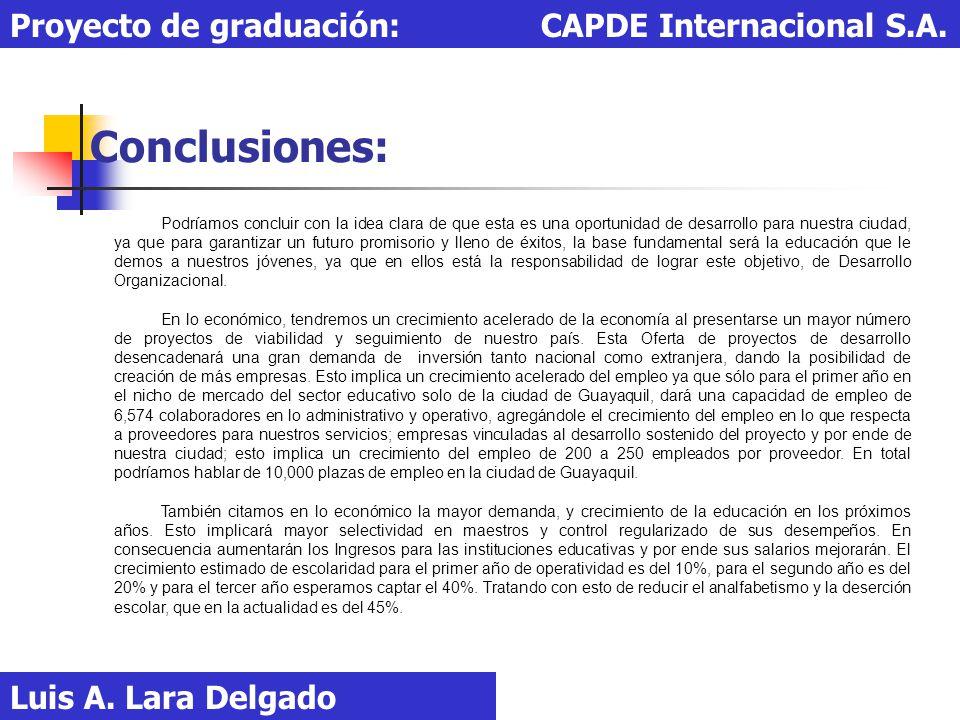 Conclusiones: Luis A. Lara Delgado Proyecto de graduación: CAPDE Internacional S.A. Podríamos concluir con la idea clara de que esta es una oportunida
