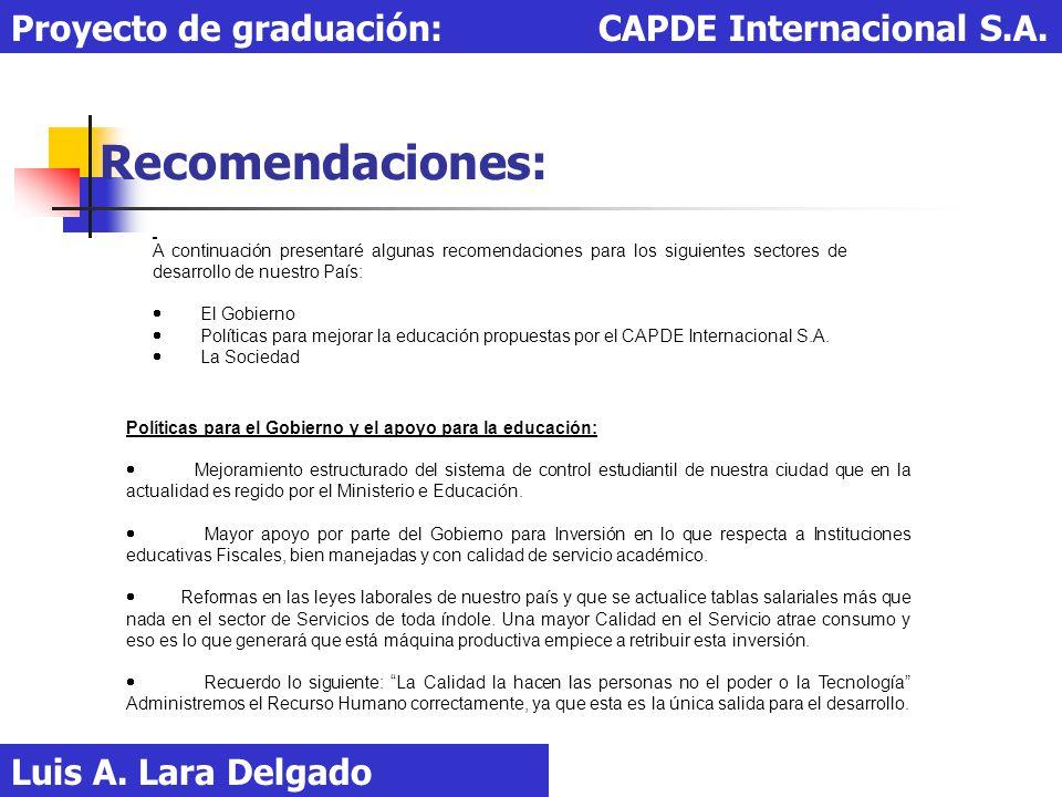 Recomendaciones: Luis A. Lara Delgado Proyecto de graduación: CAPDE Internacional S.A. A continuación presentaré algunas recomendaciones para los sigu