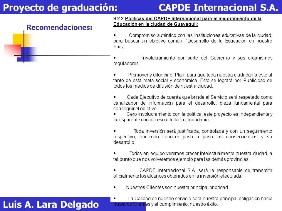 Recomendaciones: Luis A. Lara Delgado Proyecto de graduación: CAPDE Internacional S.A. 9.2.2 Políticas del CAPDE Internacional para el mejoramiento de